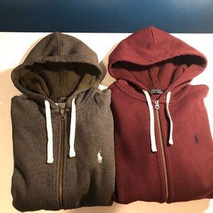 Lot of 2 Polo Ralph Lauren Fleece Zip Up Jackets
